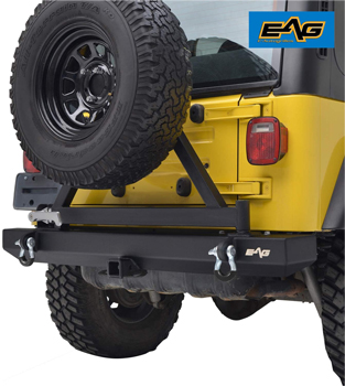 EAG Classic Rear Bumper with Tire Carrier and Hitch Receiver 87-06 Wrangler TJ YJ