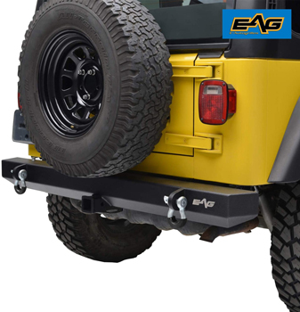Rear Bumper With 2 Inch Hitch Receiver and D-Ring Mounts