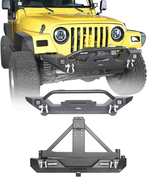 Hooke Road Wrangler TJ Rear Bumper with Tire Carrier + Front Bumpers Combo 1997-2006