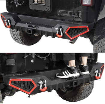 OEDRO Off Road Back Bumper With Hitch Receiver & 2 x D-Rings Jeep JK & JKU