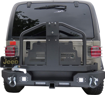 . Tioyar Jeep TJ/YJ Rear Bumper with Tire Carrier, 4 LED lights, D-Ring Mounts and Hitch for 87-06